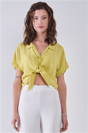 Pineapple Collared Short Sleeve Self-Tie Front Cropped Top