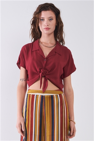 Rust Collared Short Sleeve Self-Tie Front Cropped Top /3-2-1