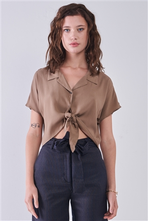 Taupe Collared Short Sleeve Self-Tie Front Cropped Top /3-2-1