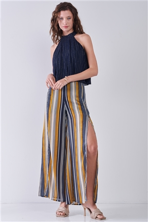 Navy Blue & Silver Weave Striped Halter Neck Sleeveless Loose Fit Top /2-2