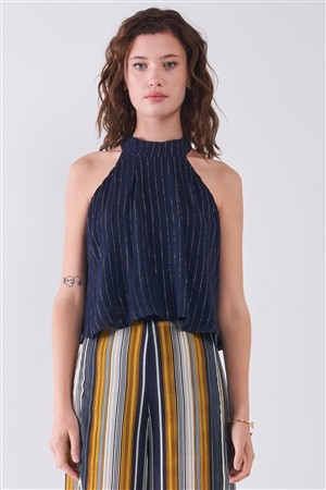 Navy Blue & Silver Weave Striped Halter Neck Sleeveless Loose Fit Top /3-2-1
