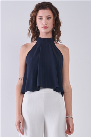 Navy Halter Neck Sleeveless Loose Fit Top /3-2-1