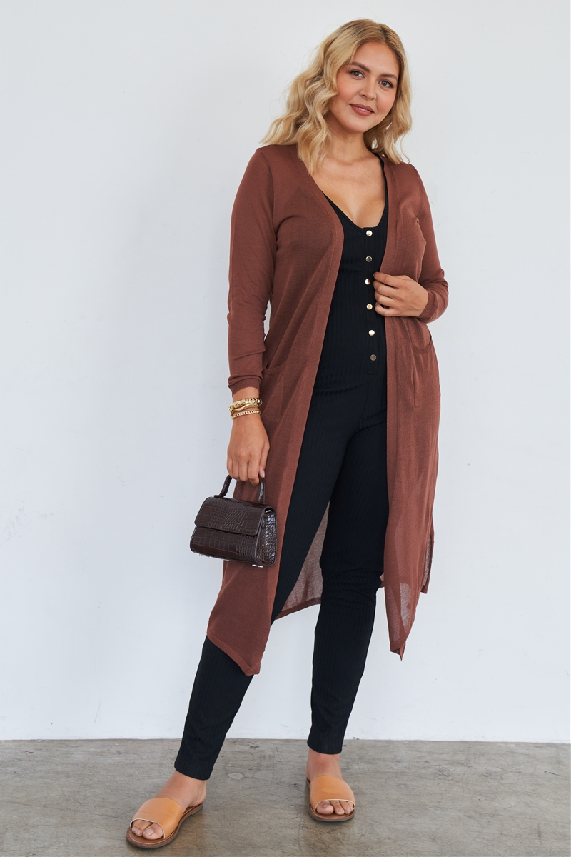 Junior Plus Size Brown Floor Length Cardigan /2-2-2