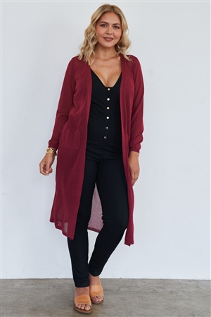 Junior Plus Burgundy Floor Length Cardigan /2-2-2