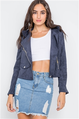 Navy Star Embroidery Faux Suede Moto Jacket