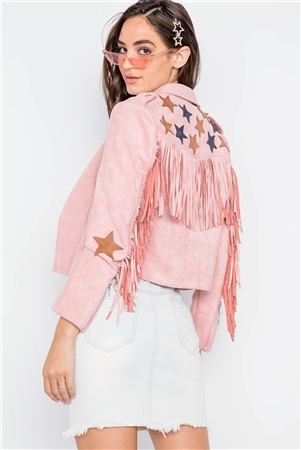 Pink Star Embroidery Faux Suede Moto Jacket