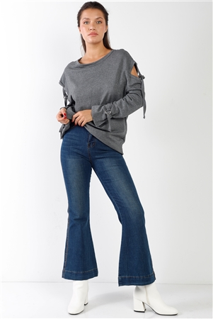 Blue Denim High Waisted Ankle Length Flare Jeans /2-2-2