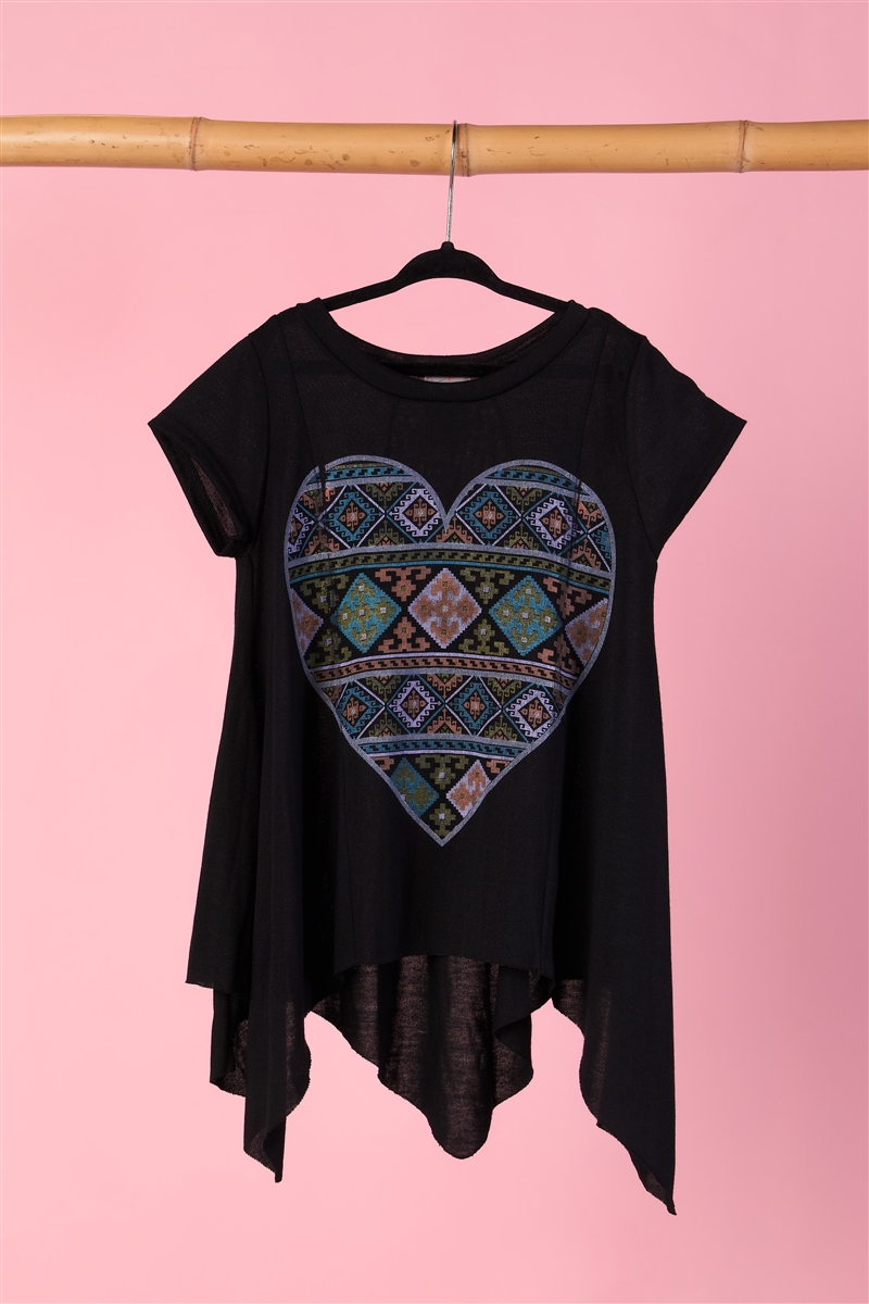 "Girls Black ""Heart"" Asymmetrical Hem Top"