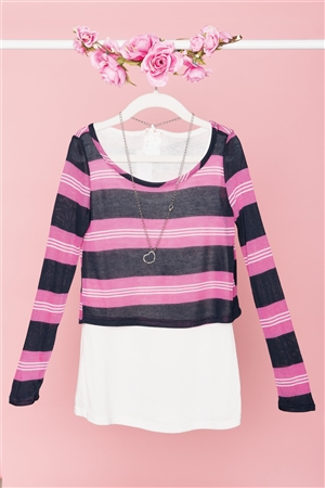 Pink Navy Striped Print Long Sleeve Top