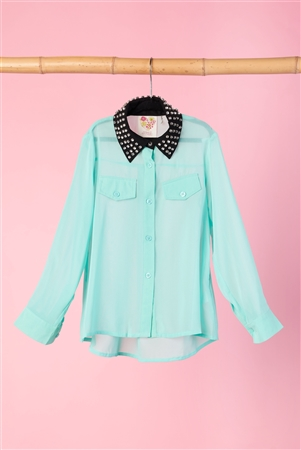 Girls Mint Sheer Rhinestone Collar Top