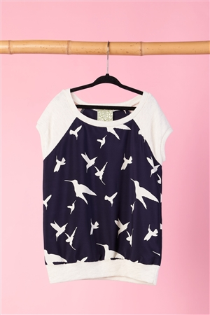 Girls Navy And Ivory Bird Print Top / 1-2-2-1