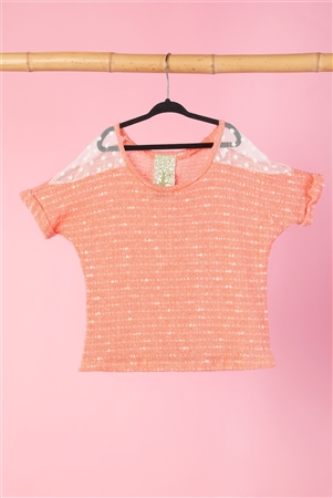 Girls Coral Knit Short Sleeve Top WIth Mesh Shoulder