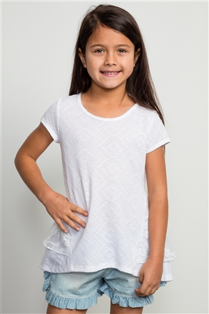 Girls White Back Lace Trim Top