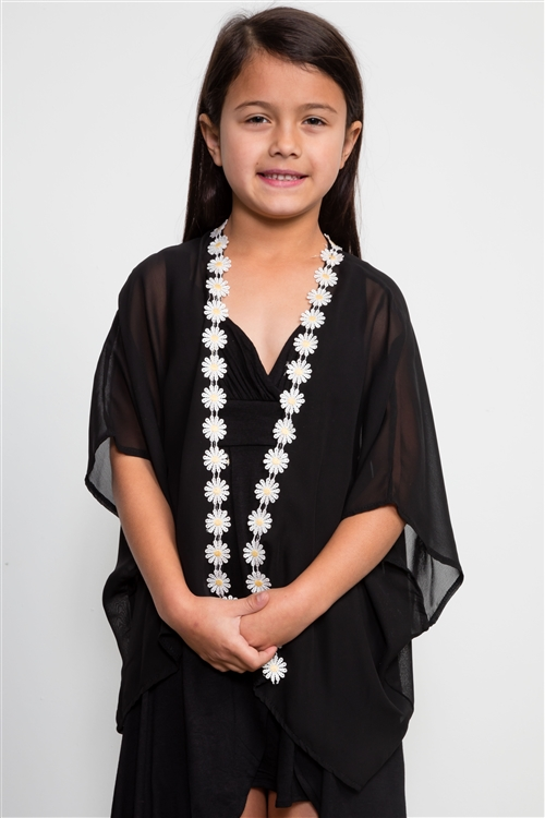 Girls Black Open Cardigan Chiffon Daisy / 2-1