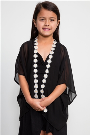 Girls Black Open Cardigan Chiffon Daisy / 1-2-2-1
