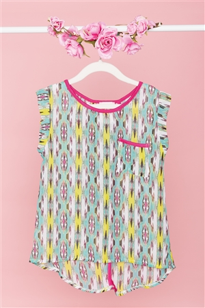 Girls Multi Print Boho Top