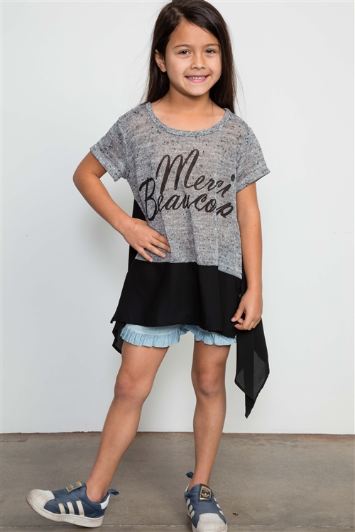 Girls Charcoal ColorBlock Graphic Front Top