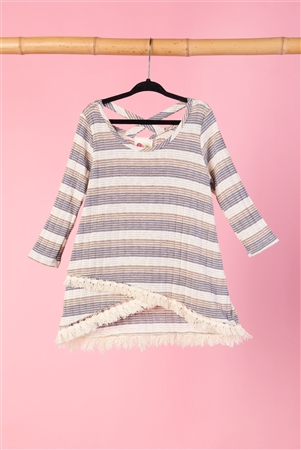 Girls Multi Color Frayed Hi-Low Hem Top