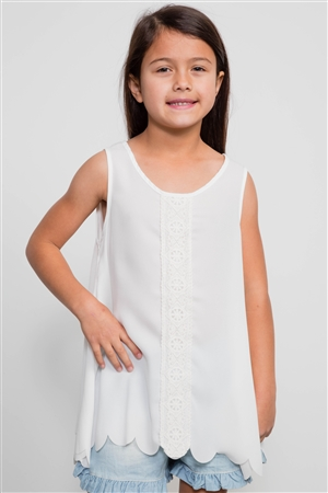 Girls Ivory Scallop Trim Top / 2-2-2