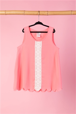 Girls Pink Scallop Trim Top  /2-2-2