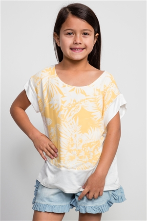 Girls Flower Print Yellow Top /1-2-2-1