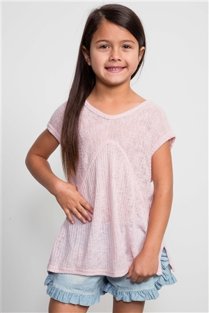 Girls Pink Ribbed Sleeveless Hi-Low Top / 1-2-2-1