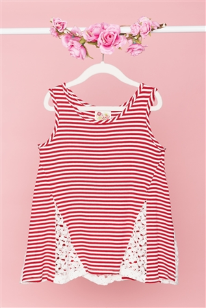 Girls Red White Stripped Sleeveless Lace Detail Top