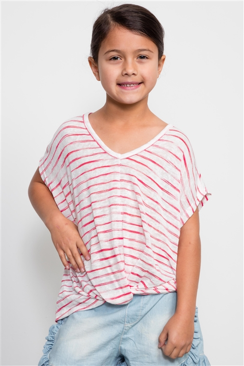 Girls Red Stripe Print Front Knotted Top