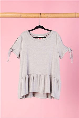 Girls Heather Grey Tie Sleeve Ruffle Hem Top