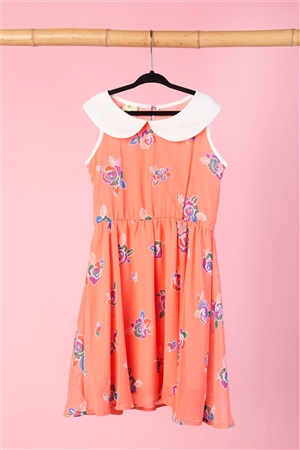 Girls Coral Floral Print Dress / 1-2-2-1