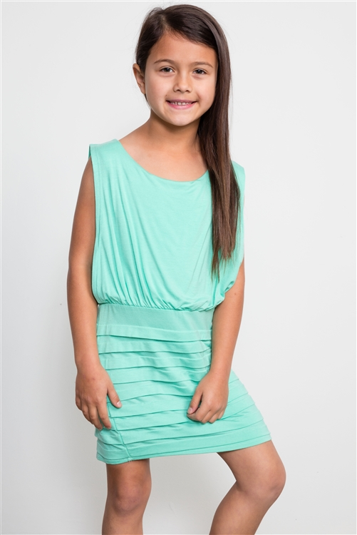 Girls Mint Bodycon Open Back Dress / 1-2-1