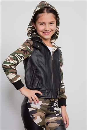 Girls Camo Printed Hooded Moto Jacket