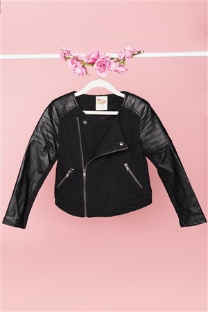 Girls Black Faux Leather Moto Jacket