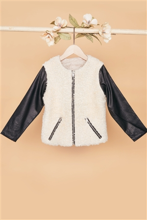 Girls Ivory Black Faux Shearling Contrast Sleeves Jacket