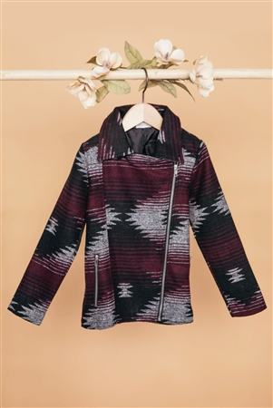 Girls Burgundy Grey Long Sleeve Chimayo Jacket