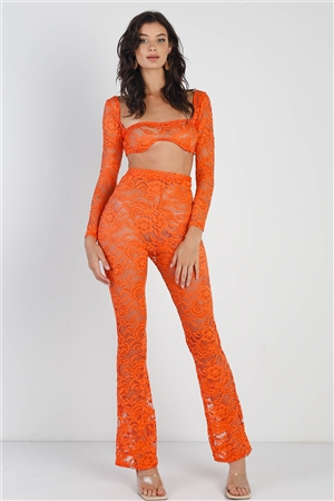 Orange Sheer Floral Lace Crop Square Neck Top & High Waist Flare Pant Set