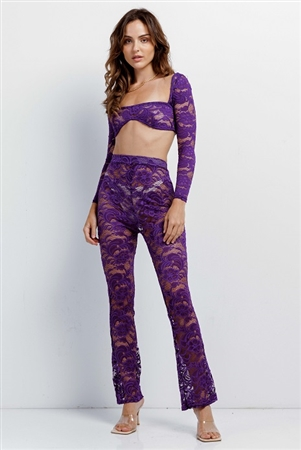 Purple Sheer Floral Lace Crop Square Neck Top & High Waist Flare Pant Set