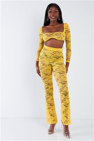 Yellow Sheer Floral Lace Crop Square Neck Top & High Waist Flare Pant Set