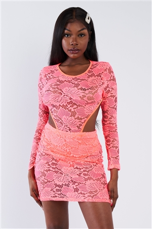 Neon Pink Sheer Floral Lace Open Back Mini Dress