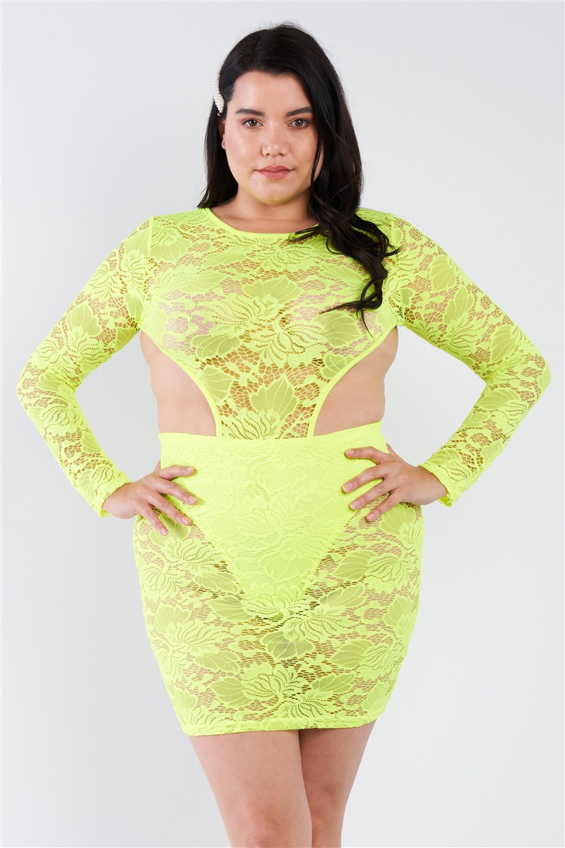 Junior Plus Size Neon Yellow Sheer Floral Lace Open Back Mini Dress