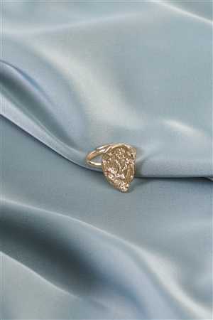 Gold Hammered Metal Teardrop Ring