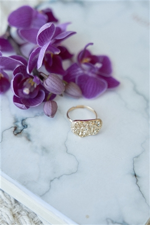 Gold Hammered Metallic Stone Ring