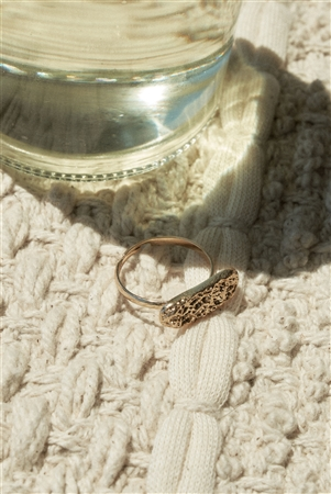Gold Metallic Bar Ring
