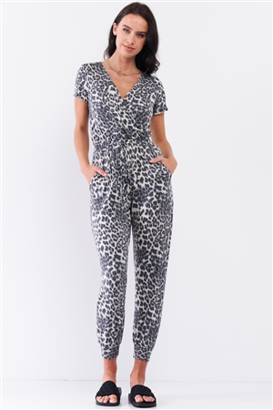 Charcoal Grey Leopard Print Short Sleeve Wrap V-Neck Draw-String Tie Waistline Relaxed Jumpsuit /3-2-1