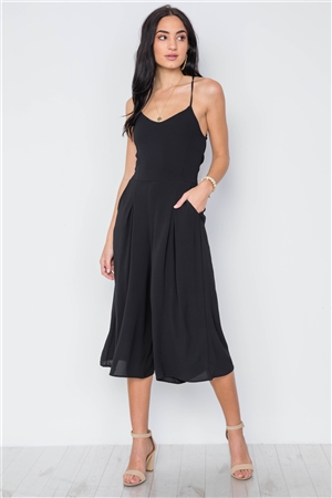Black Cami Wide Leg Capri Jumpsuit
