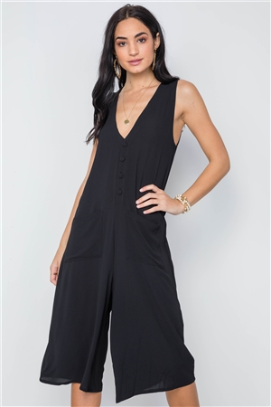 Black V-Neck Sleeveless Capri Jumpsuit