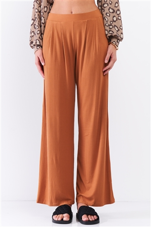 Honey Gold Ribbed Mid-Rise Wide Leg Pants /3-2-1