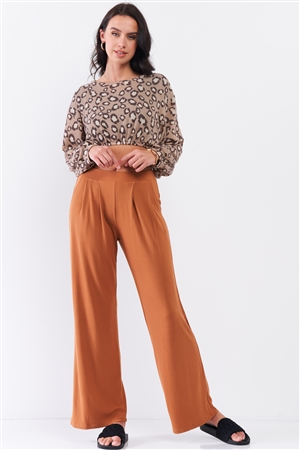 Honey Gold Ribbed Mid-Rise Wide Leg Pants /2-3-1