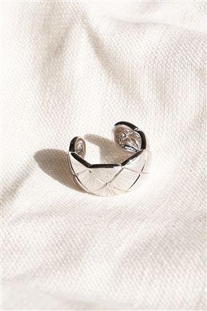 Silver Quilted Texture Metal Ring