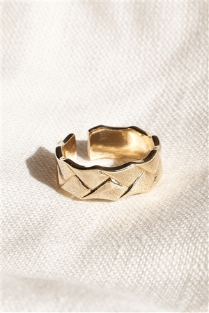 Gold Metallic Textured Ring